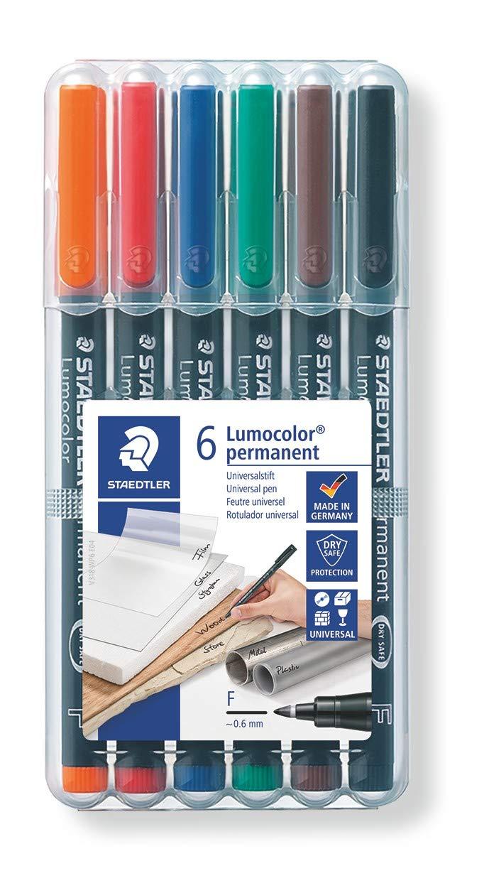 Staedtler 318 WP6. Rotuladores de punta fina Lumocolor. Estuche con 6 colores.