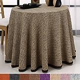 Falda para Mesa Camilla Redonda Modelo Comino, Color Beige-Marrón, Medida 80cm de diámetro