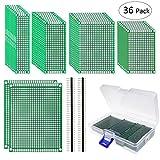 Philonext 36 Pezzi Scheda PCB Doppia Faccia circuito stampato prototipo PCB bordo universale 2 x 8cm、3 x 7cm、4 x 6cm、5 x 7cm、7 x 9cm per Fai da te Saldatura e Progetto Elettronico