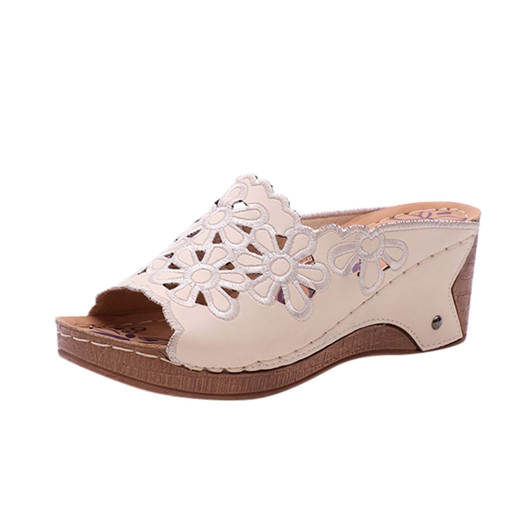 le rapport qualité prix super service le meilleur WINJIN Chaussures femme Été Sandales Compensées Femmes Tongs Femmes  Chaussures de Plage à Talons Hauts Mules Résille Creux