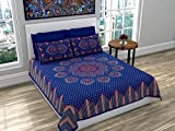 #8: Ubania Collection Rajasthani Print Cotton Double Bedsheet with 2 Pillow Covers - Blue