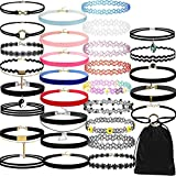 VJGOAL Damen Halskette, 30 Stück Mädchen Choker Halskette Set Stretch Velvet Klassische Gothic Tattoo Spitze Choker Frau (30PCS-A)