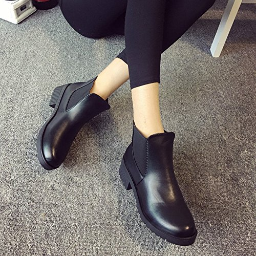 Minetom Klassische Damen Stiefeletten Chelsea Boots London Style Schuhe Thick heel Schwarz
