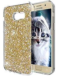 OKZone Galaxy A5 2017 Hülle, Luxus Glitzer Bling Designer Weich TPU Bumper Case Silikon Schutzhülle Handy Tasche Rückseite Hülle Etui Cover TPU Bumper Schale für Samsung Galaxy A5 2017 (Gold)