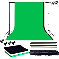VTS BackgroundCreationstand Setup Black White Green Chroma Key Screen Photo Video Studio ric Backdrop 8x 12 ft. with Background Hold Metal Spring Clamp Combo for Indoor-Outdoor,Conferences,YouTube Photography