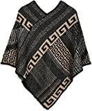 styleBREAKER Poncho mit Meander Ornament Muster, Weich und Fransig, V-Ausschnitt, Damen 08010037, Farbe:Schwarz-Grau-Beige