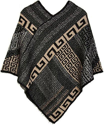 styleBREAKER Poncho mit Meander Ornament Muster, weich und fransig, V-Ausschnitt, Damen 08010037 Schwarz-Grau-Beige