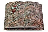 MEMORUM Grabmale Grabbuch, Grabplatte, Grabstein, Grabkissen, Urnengrabstein, Liegegrabstein Modell Livre Pagina 40 x 30 x 8-9 cm Paradiso-Granit, Poliert inkl. Gravur (Bronze-Color-Ornament Rose 3)