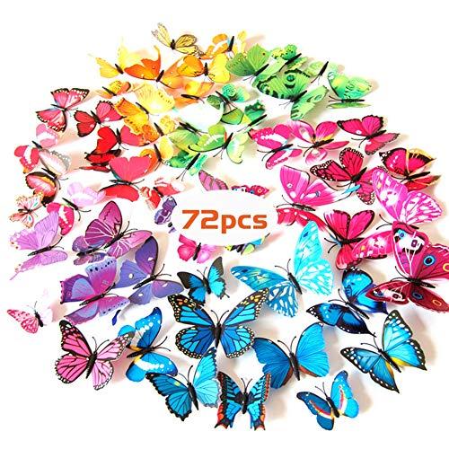 KANOSON 3D Schmetterlinge Deko,72 Stück 3d Schmetterlinge Für Die Wand, Kunststoff Schmetterling Kühlschrankaufkleber Wandsticker Wandtattoo Wanddeko Für Zimmer Und Balkon Deko(Magnet+Klebepunkten)