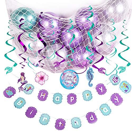 SUNBEAUTY Meerjungfrau Geburtstag Mädchen Party Deko Kit Lila Birthday Girlande Mermaid Spiralen (Deko-Set mit Ballons) - Ballon-netz
