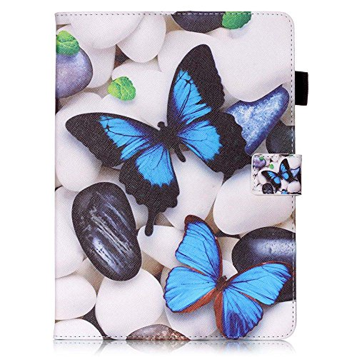 Apple iPad Air 2 Case [with Free Earphone], Billionn 3D glitter PU Leather Flip Cover Shell Wallet Slim Stand Protective Cover for Apple iPad Air 2 (Blue butterfly) Test
