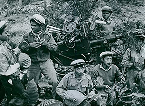 Vintage photo of 1962 The caption to our picture, received from Hanoi, states that it shows anti-aircraft troops of the Laotian Peoples' Liberation Army