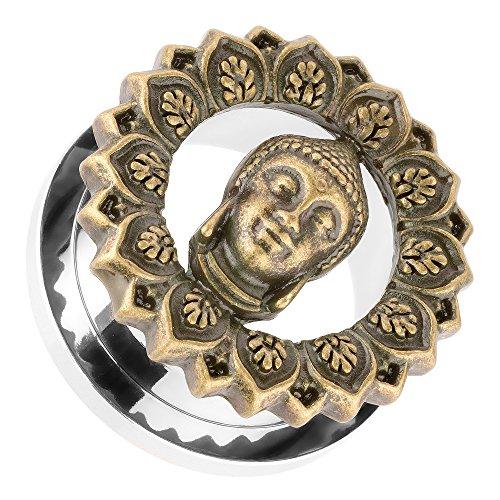Piersando Ohr Plug Schraub Piercing Ear Flesh Tunnel Ohrpiercing Edelstahl Vintage Tribal Ethno mit Buddha Kopf Silber Gold 14mm