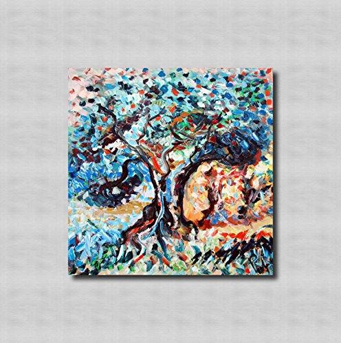 Zeitgenössische Olive (Europäisch,moderne und einfache dekorative malerei,veranda dekorative malerei, bild,wohnzimmer-aisle-dekoration malerei,pure hand-painted - THE OLIVE GROVE AT SUNSET 80x80cm 31,4 x 31,4 in)