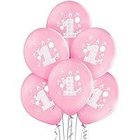 ocballoons 20 Palloncini 1° Primo Compleanno Rosa Biodegradabili Made in Italy Bimba Bambina Addobbi e Decorazioni per…