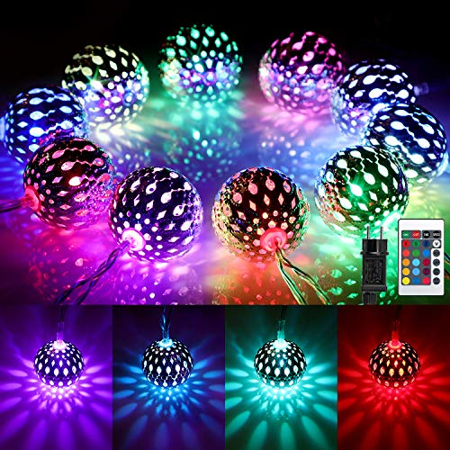Marokkanische Kugel LED Lichterkette Außen, 16 Farben Orientalisch Bunt Lichterkette Kugeln RGB, 4M 20 LED Farbwechsel Fairy Lights mit Stecker & Fernbedienung fur Weihnachten,Thanksgiving, Party Deko