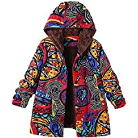 Berimaterry Women's Winter Jacket Hoodie Warm Outwear Cool Fashion Floral Print with Hood Pockets Vintage Oversize Coats Long Sleeve