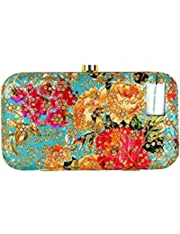 Tooba Handicraft Party Wear Embroidered Box Clutch Bag Purse For Bridal, Casual, Party, Wedding (Turquoise)