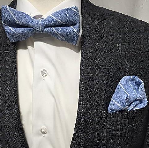 Fliege Pochettes Chiffon handrolliert Set coton rayé bleu blanc motif Fashion neuf
