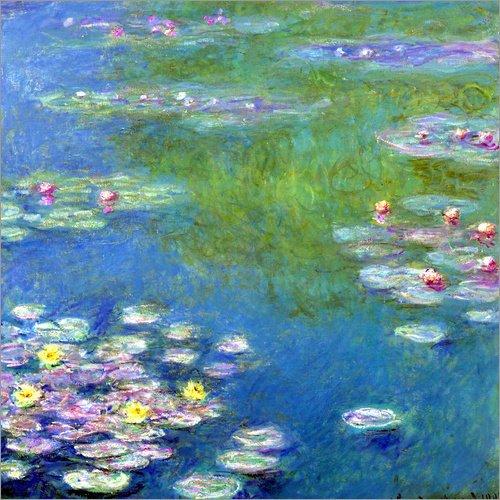 Posterlounge Lienzo 20 x 20 cm: Nymphéas de Claude Monet - Cuadro Terminado, Cuadro sobre Bastidor, lámina terminada sobre Lienzo auténtico, impresión en Lienzo