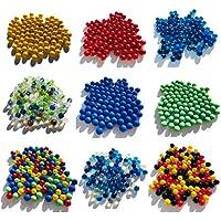 Varios murmullos de cristal de mármol de 500 g aprox. 95 unidades de piedras de cristal de 16 mm de grosor con relleno de jarrones de canicas rojas, verdes, azules y transparentes, color blanco