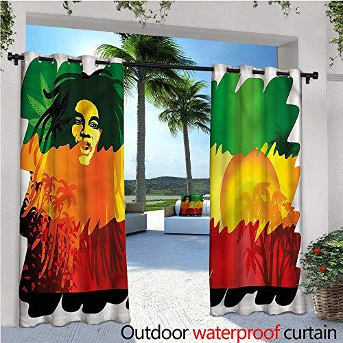 warmfamily Rasta Outdoor Sichtschutz Vorhang für Pergola Rasta Man Skizze Portrait Thermoisoliert wasserabweisend Drape für Balkon W84 x L96(214cm x 245cm) Color05 -