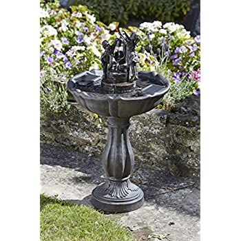 Solar Ornamental Tipping Pail Garden Fountain Water Feature