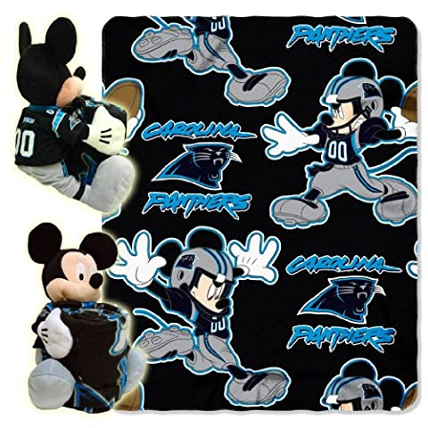 NFL Carolina Panthers Mickey Mouse Pillow with Fleece Throw Blanket Set