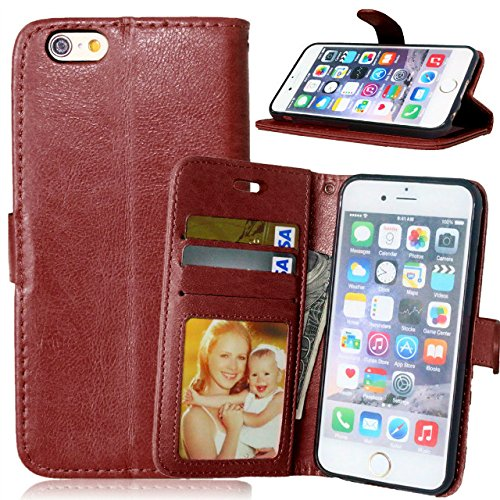 iPhone Case Cover Premium PU Leather Case Solid Color Wallet Stand Housse Silicone pour iPhone 6 6s ( Color : Red , Size : IPhone 6 6S ) Brown