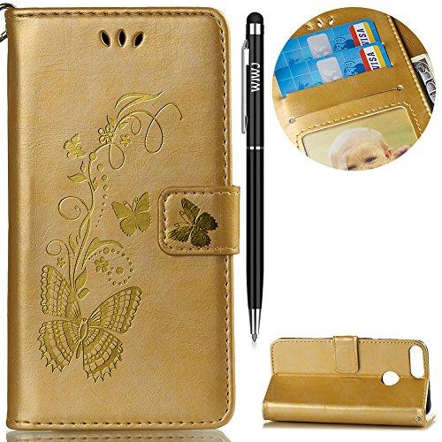 Huawei P Smart Hülle,Huawei Enjoy 7S Leder Handyhülle,WIWJ Wallet Case[Heißprägen Prägung Schmetterlinge Ledertasche] Flip Schutzhülle Lederhülle Folio Hüllen Schale Schutzhüllen-Golden