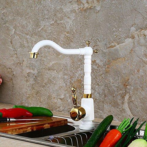 Gyps Faucet Waschtisch-Einhebelmischer Waschtischarmatur BadarmaturDie Grillen Weiß Küche Wasserhahn Warmes und Kaltes Leitungswasser Hahn Gold-Kupfer Beschläge Drehen Gericht Waschbecken wasserh - Kalten Massage