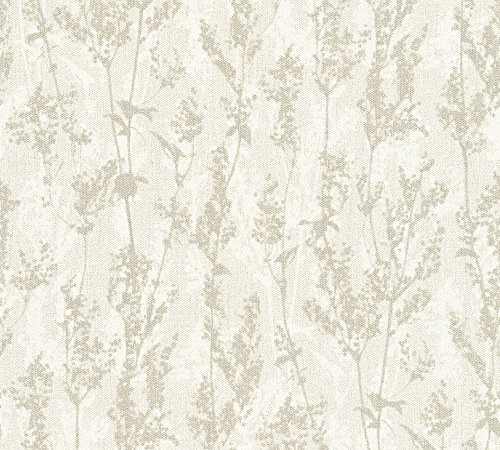 A.S. Création Vliestapete Borneo Tapete floral 10,05 m x 0,53 m creme grau Made in Germany 327172 32717-2 -