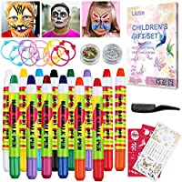 Lictin Face Paint Hair Chalk Pens Kit - 8 Colors Washable Face Paint Set 6 Hair Colour Pens, Temporary Kids Face and Body Paint Hair Chalks for Christmas, Halloween, Carnival Makeup