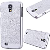 GrandEver Hard PC Case for Samsung Galaxy S4 Rigid Glitter Back Cover Solid Color Bling Shiny Sparkle Design High Quality Plastic Shell Shockproof Tough Case Cover Flexible Cell Phone Hull for Samsung Galaxy S4 --- Silver