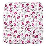 TupTam Baby Wickeltischauflage mit Baumwollbezug Gemustert, Farbe: Vögelchen Rosa, Größe: 70 x 70 cm