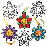 Baker Ross Kit de décorations Attrape-Soleil à Fleur Souriante Que Les Enfants pourront Peindre et Suspendre à la fenêtre - Kit de Loisirs créatifs pour Enfants spécial Printemps (Lot de 8)