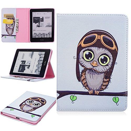 ge Hülle PU Leder Tasche Schutzhülle Cover Case Wallet Brieftasche Stand für Kindle Voyage - Eule ()