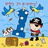 Twizler 1st Birthday Card for Boy with Pirate, Dog and Parrots - One Year Old – Age 1 - Childrens Birthday Card - Boys Birthday Card - Happy Birthday Card