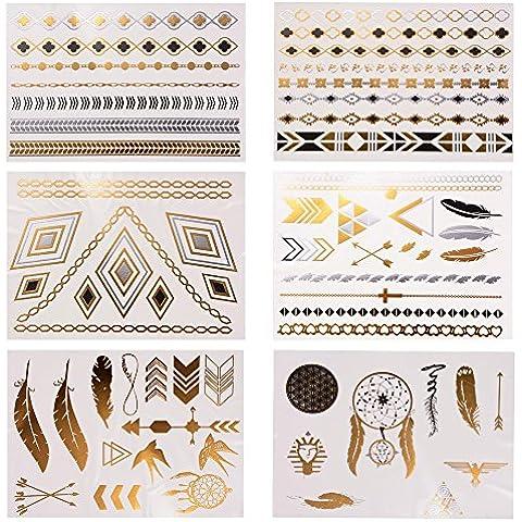 XCSOURCE Fashion Design Oro Argento Metallizzato tatuaggio provvisorio impermeabile rimovibili braccio del corpo tatuaggi trucco (Corpo Alcool)