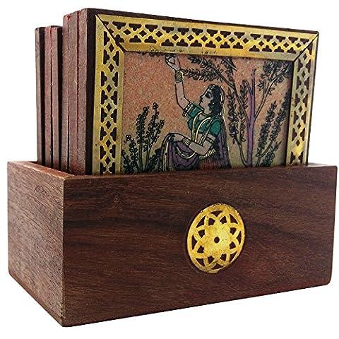 Pierre précieuse fait main en bois Peinture Thé sous-verres (lot de 6) 4.5x2.5x4 Rural Lady - Flower