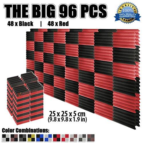 super-dash-96-pieces-of-25-x-25-x-5-cm-wedge-black-red-acoustic-soundproofing-foam-studio-treatment-