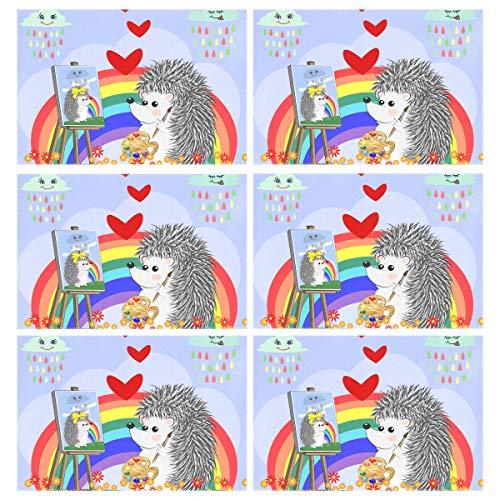 Wihve - tovagliette all'americana per san valentino, motivo: riccio arcobaleno e cuore, poliestere e misto poliestere, multi 01, 12 x 18 inch