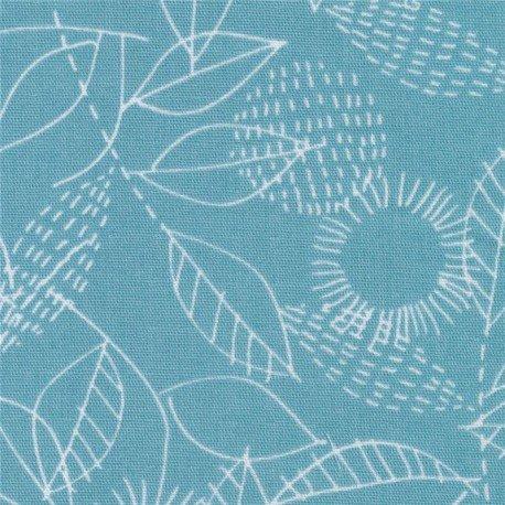 blue double gauze white flower leaf fabric Cloud 9 Threads (per 0.5m)