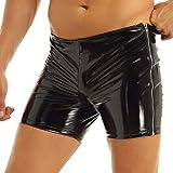inlzdz Mens PVC Metallic Two Side Zipper Shorts Shiny Punk Boxer Shorts Nightwear Clubwear