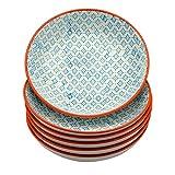 Pastateller aus Porzellan - gemustert - Blaues/orangefarbenes Printmuster - 6 Stück