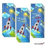 3 x 4 Kinder Weltall-Lesezeichen (12er Set) I dv_254 I 3 Motive I Einschulung Schultüte Geschenk-Idee I Buch Kapitel Leseratte I Sonne Sterne Galaxie