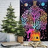 Tapestry Single Tree Multi Elephant Wall Hanging Art Decor Mandala Tapestry Hippie Dorm 84X55 inches Aakriti Gallery