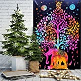 Tapestry Single Tree Multi Elephant Wall Hanging Art Decor Mandala Tapestry Hippie Dorm 84X55 inches Aakriti Gallery