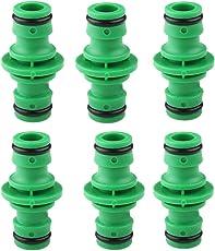 Hmjunboys Schlauchverbinder Gartens Kupplung Doppel Stecker Extender Schnellkupplung Schlauch für Gartenschlauch Kunststoff Rohr Verbinden (Grün) 6 PCS