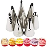 NiceMeet 7 Pcs Douille Patisserie en INOX pour Décoration de Gâteaux - Réutilisables et Douille Patisserie Fleur Rose pour Ta